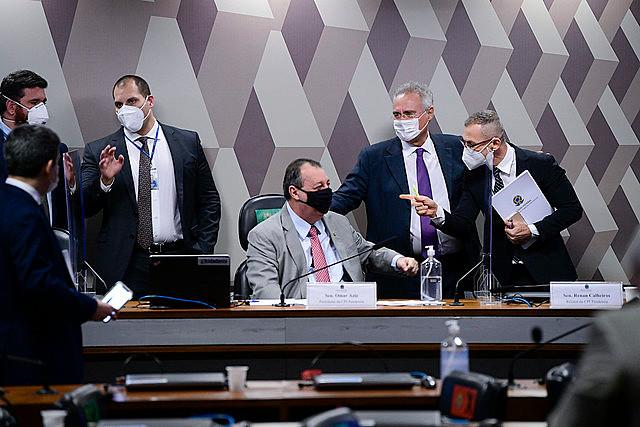 Parlamentares durante sessão da CPI da Covid, no Senado - Pedro França/Agência Senado