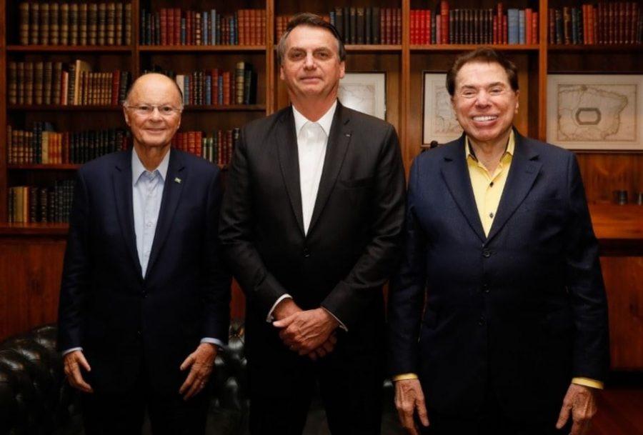 Edir Macedo, Bolsonaro e Silvio Santos (Reprodução/Facebook)