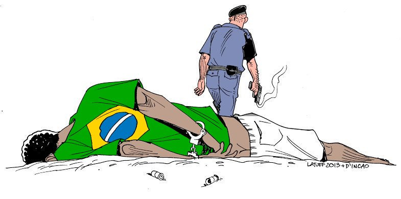 Charge de Carlos Latuff vandalizada na Câmara.