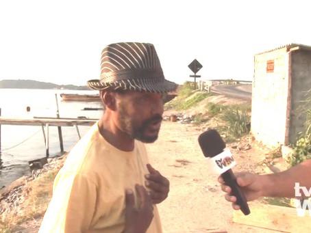 TV Win mostra descaso com a Baía de Guanabara e a dor de seu Dorival