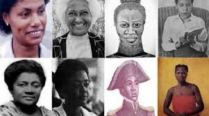 Do alto da esquerda para a direita, mulheres negras que fizeram história na América Latina: María Elena Moyano (Peru), Argelia Laya (Venezuela), María Remedios del Valle (Argentina), Virginia Brindis de Salas (Uruguai), Amy Ashwood Garvey (Jamaica), Sara Gomez (Cuba), Sanité Bélair (Suzanne Bélair – Haiti) e Tereza de Benguela (Brasil)