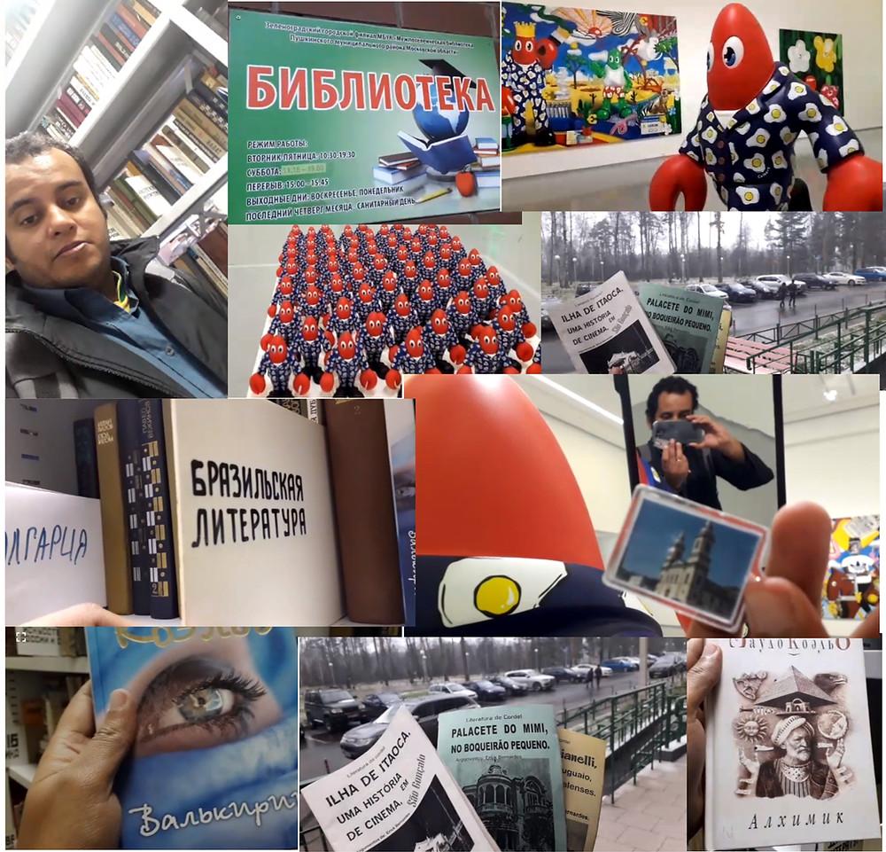 O jornalista Rennan Rebello esteve em Moscou e deixou títulos de cordel em biblioteca local/Arte: Jornal Daki