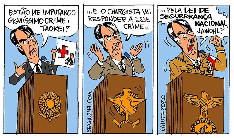 Charge de Carlos Latuff em crítica as posturas do governo Bolsonaro diante da liberdade de crítica de Aroeira e dos chargistas. / Carlos Latuff