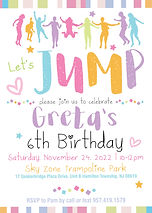 Cute Skyzone Jump Kids Birthday Invitation for a Girl with Rainbow Colors - Printed and Digital Options
