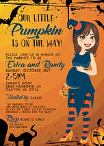 Cartoon Girl Baby Shower Invitation - a little spooky with a black cat - designed by Melissa Miller, owner of Made to Keep