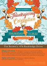 Thanksgiving Party Invitation featuring leaves, acorns, and teal designed by Made to Keep