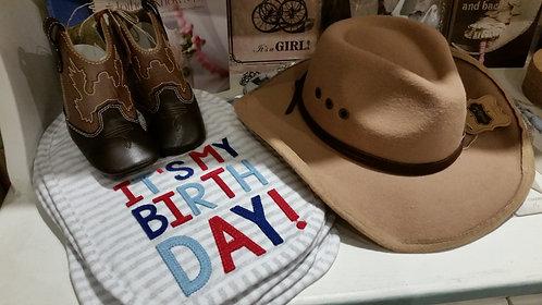 Its My Birthday bib - Blue