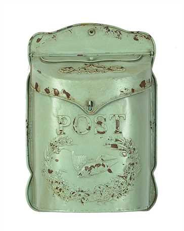 "10-1/2""L x 15-1/4""H Embossed Tin Letter Box, Distressed Aqua"