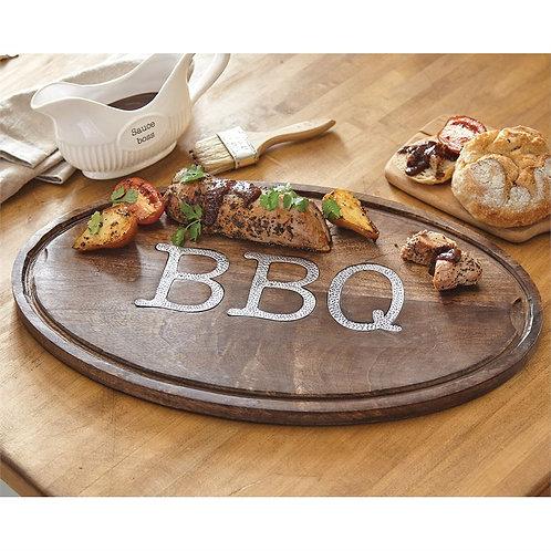 BBQ Oval Wood Serving Board