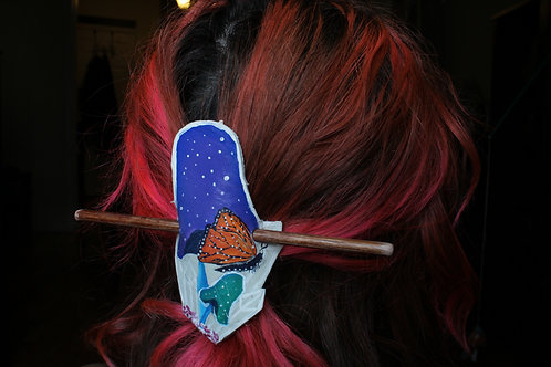 Butterfly and Mushrooms Fairy Hair Slide