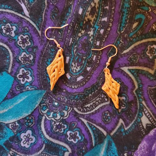 Mustard Magick Knit Earrings