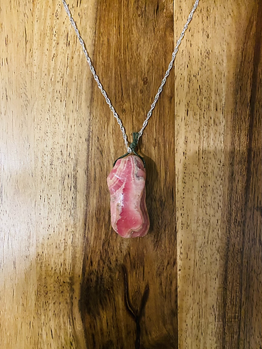 Beautiful Rhodochrosite Pendant With Sterling Silver Chain