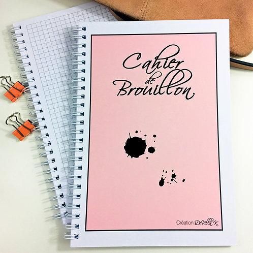 Cahier A5 à spirales - Cahier de Brouillon Rose et Noir