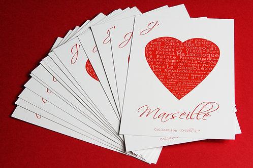 """Coffret de 20 cartes postales - """"J'aime Marseille"""""""