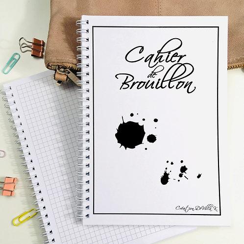 Cahier A5 à spirales - Cahier de Brouillon Noir et Blanc