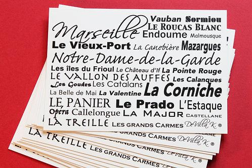 Coffret de 20 cartes postales - Quartiers Marseille