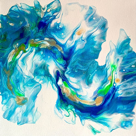 Blue Swish acrylic artwork by Villa Norse Artistry