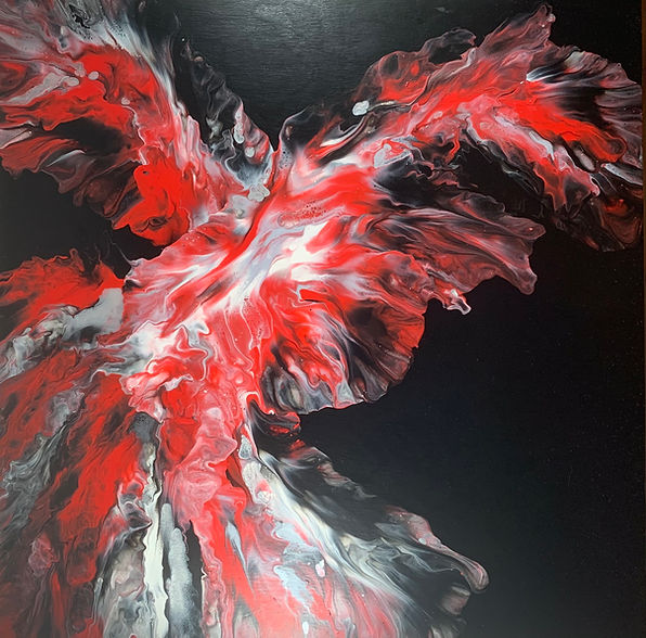 The Phoenix acrylic abstract artwork by Villa Norse Artistry