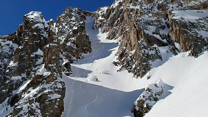 Steep snowboard mountaineering in Colorado.