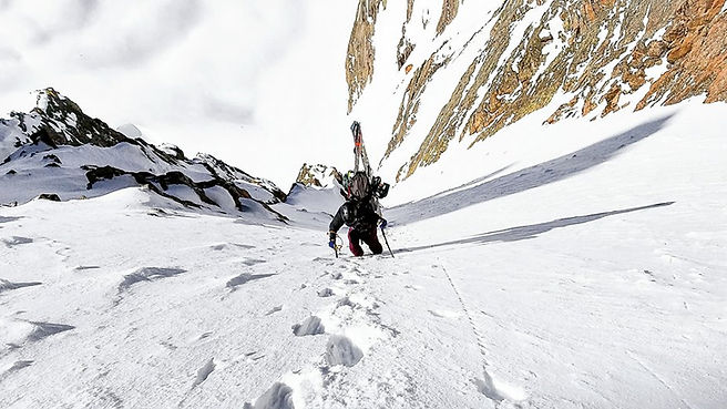 Technical snowboard mountaineering.