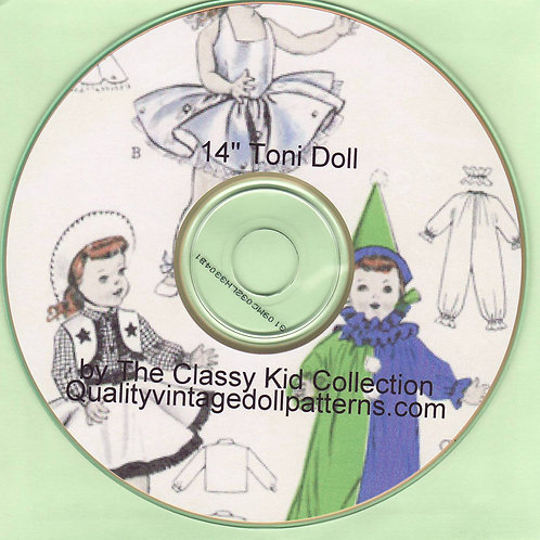 "14"" Toni Doll Patterns on CD"