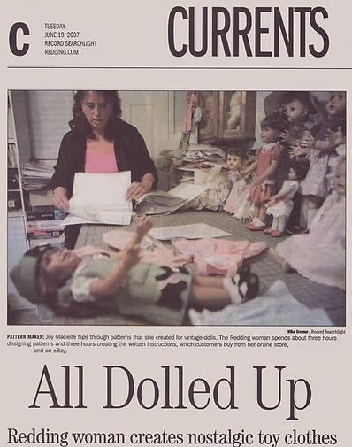 Article published in 2007 regarding original doll pattern desigs