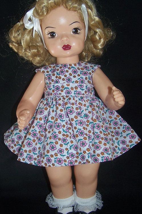 """Pink Posies Dress for 16"""" Terri Lee or 16"""" Saucy Walker"""