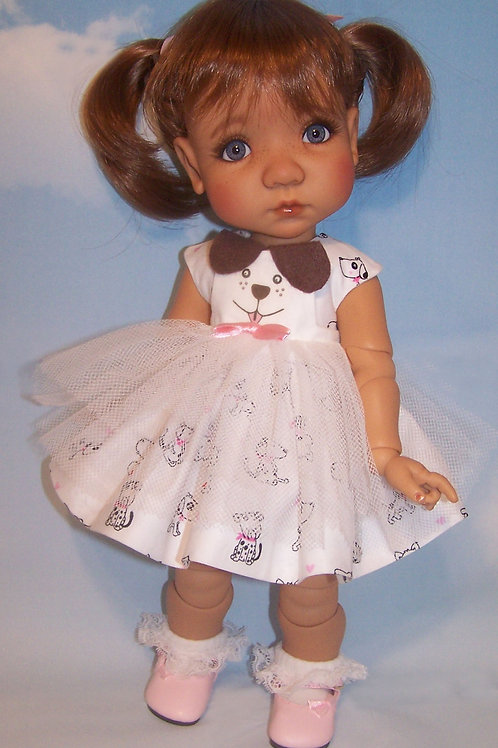 "Dog Dress with Pinafore for 16"" Mae or Aya"