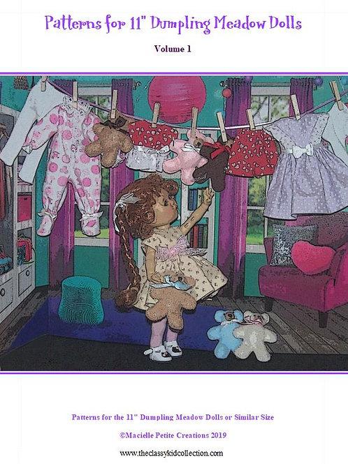 """PDF -11"""" Dumpling Meadow Doll Patterns Volume 1"""