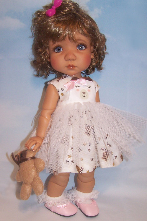 """Teddy Bear Dress with Pinafore for 16"""" Mae or Aya"""