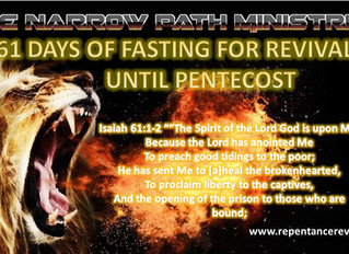 61 DAYS OF PRAYER & FASTING FROM MONDAY MARCH 30TH TO 30th OF MAY 2020