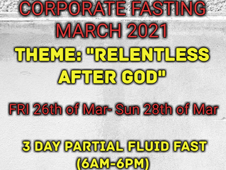 3 DAYS FASTING AND PRAYER FOR MARCH THE 26th, 27th & 28th 2021