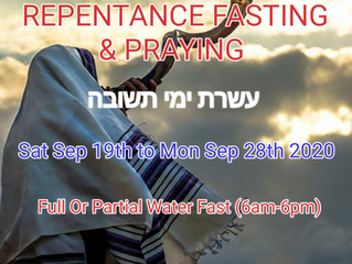 10 DAYS OF FASTING & PRAYING SATURDAY 19TH of SEPTEMBER – MONDAY 28TH of SEPTEMBER 2020