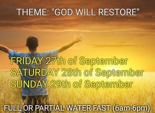 3 DAYS FASTING AND PRAYER FOR SEPTEMBER