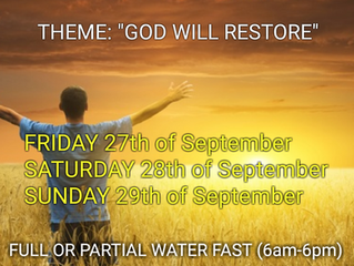 3 DAYS FASTING AND PRAYER FOR SEPTEMBER