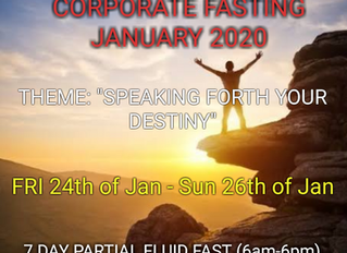 3 DAYS FASTING AND PRAYER FOR JANUARY 24th, 25th & 26th 2020