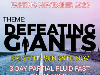 3 DAYS FASTING AND PRAYER FOR NOVEMBER 27th-29TH 2020