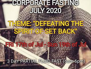 3 DAYS FASTING AND PRAYER FOR JULY 17TH TO 19TH 2020