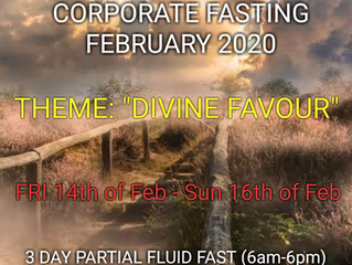 3 DAYS FASTING AND PRAYER FOR FEBRUARY THE 14th, 15th & 16th 2020