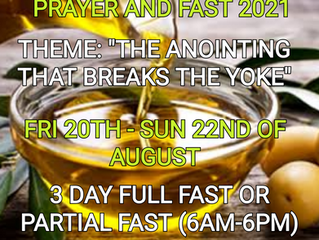 3 DAYS FASTING AND PRAYER FOR AUGUST 20TH, 21ST & 22ND 2021