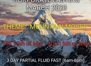 3 DAYS FASTING AND PRAYER FOR MARCH 13th TO 15th 2020