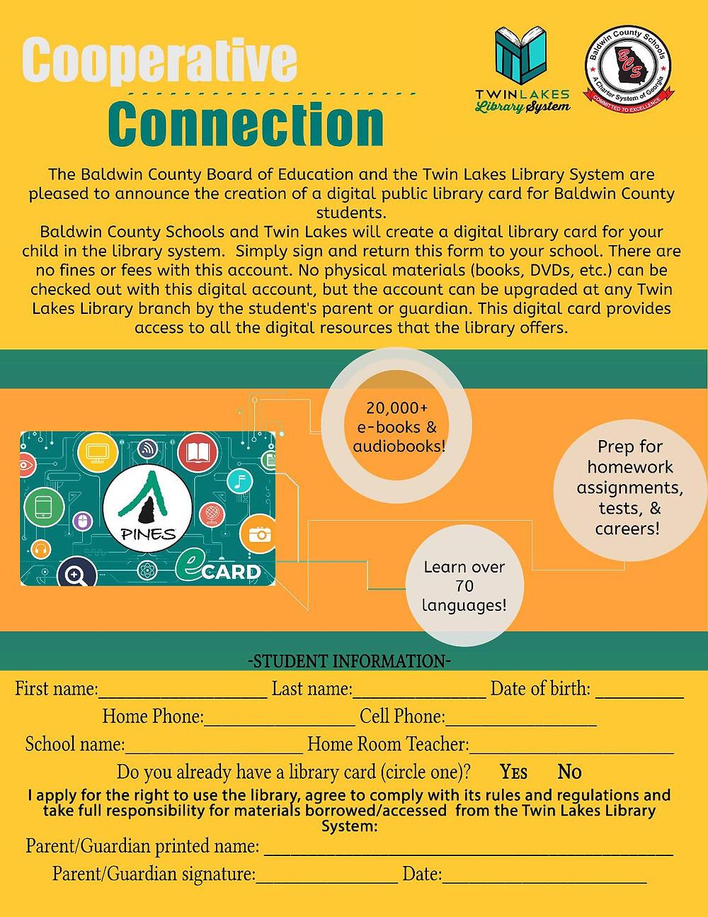 Digital library card application