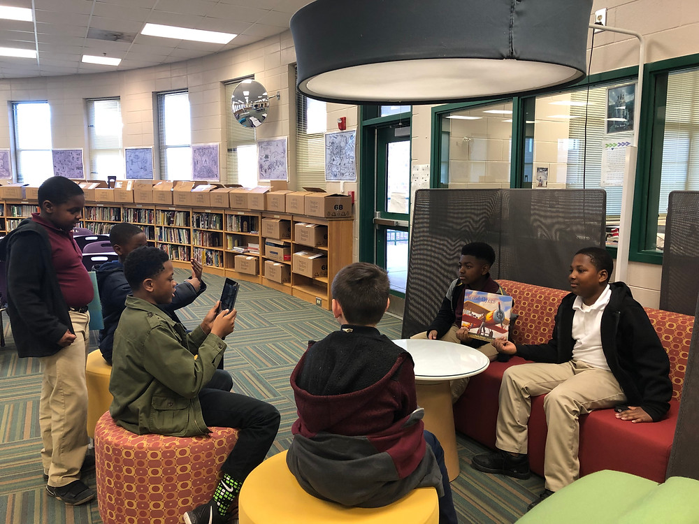 5th grade students in the Media Center