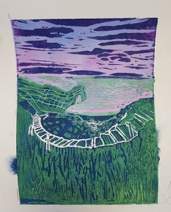Tim's lino print