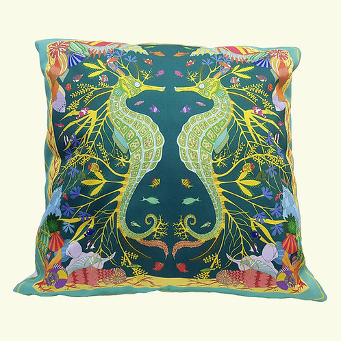Swanage seahorse cushion