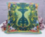 teal seahorse_ cushion covers_ cushions