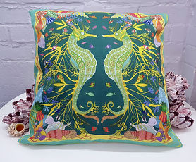 teal seahorse_ cushion covers_ cushions