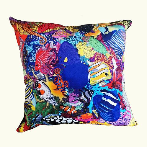 Electric Ocean Giant Velvet Cushion