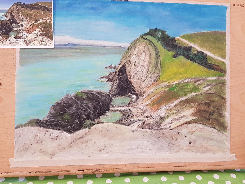 Joy's giant pastel drawing