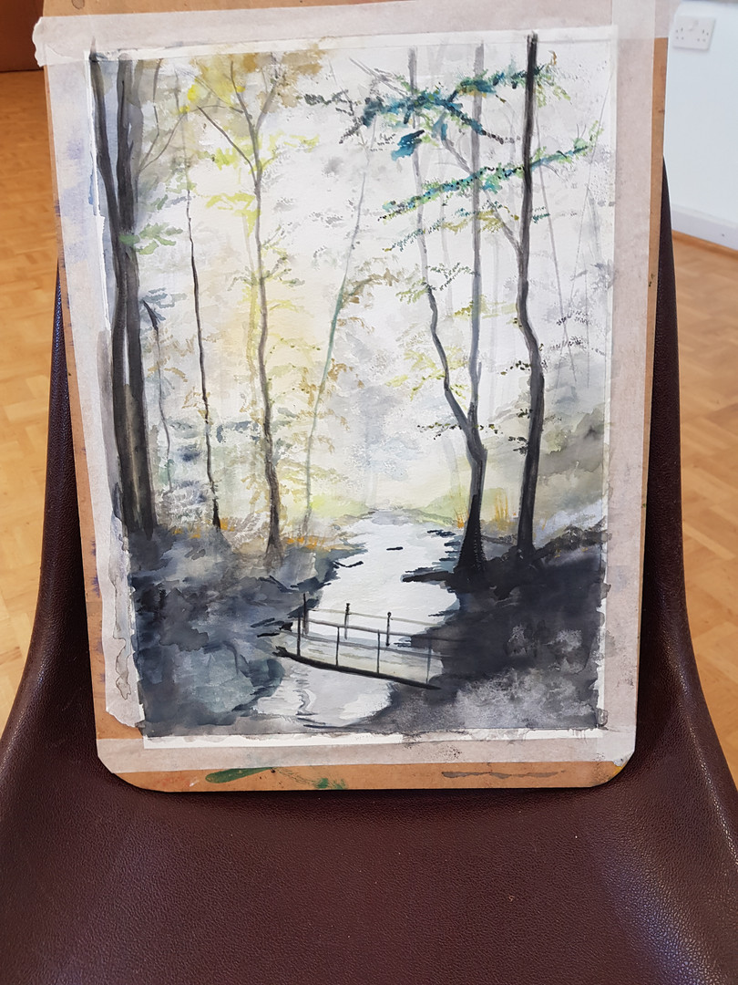 Pam's woodland painting